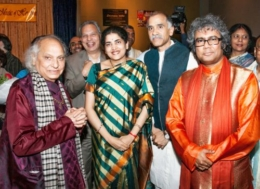 Pt.Ghosh with his Guruji, Pandit Jasraj-ji, Cousul General of India Hon. Shri P. Harish and Sugar Land Councilman Shri Harish Jajoo